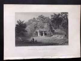 Fisher (Pub) 1832 Antique Print. Entrance to the Caves of Elephanta, India